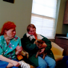 Joyce Rose and Anna Ehmann enjoying themselves; keeping the pets loved with affection.